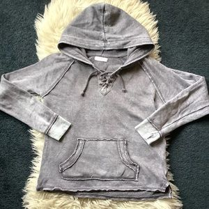 Ocean Drive gray vintage wash lace up hoodie S